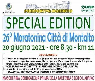 Maratonina città di Montalto – scheda tecnica